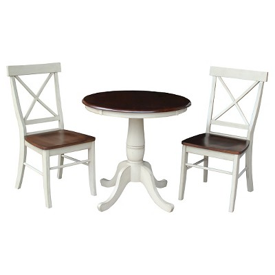 """3pc 30"""" Dining Set Round Pedestal Dining Table Wood/Antiqued Almond & Espresso - International Concepts"""