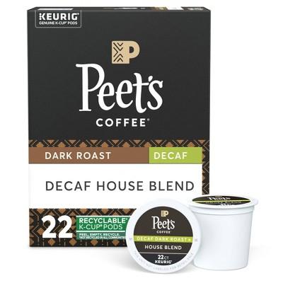 Peet's Decaf House Dark Roast Coffee - Keurig K-Cup Pods - 22ct