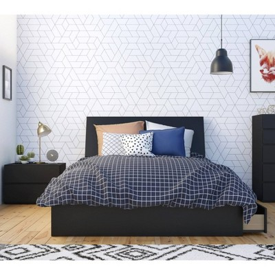 3pc Full Epik Bedroom Set with Headboard Extension Panels Black - Nexera