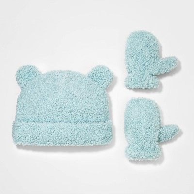 Toddler Girls' Sherpa Fleece Beanie with Mittens - Cat & Jack™ Dusty Blue
