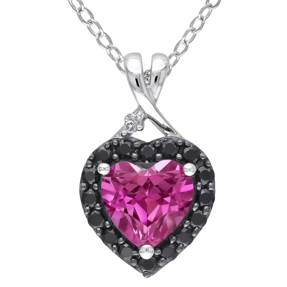 Image of 1 7/8 CT. T.W. Pink Sapphire and Black Spinal Rhodium with Diamond Heart Pendant in Sterling Silver - Pink, Women's, Size: Small