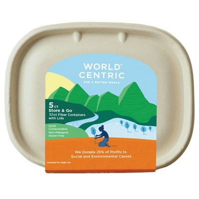 World Centric Containers with Medium Lids - 5ct - 32oz