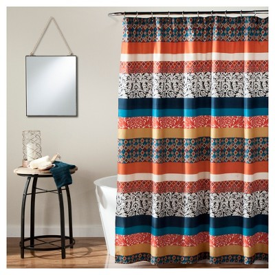 Boho Stripe Shower Curtain Turquoise- Lush Decor
