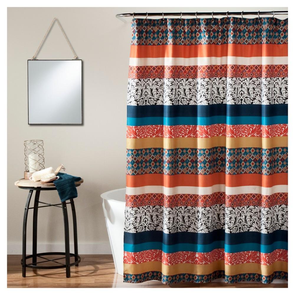 Boho Stripe Shower Curtain Turquoise- Lush Decor, Turquoise