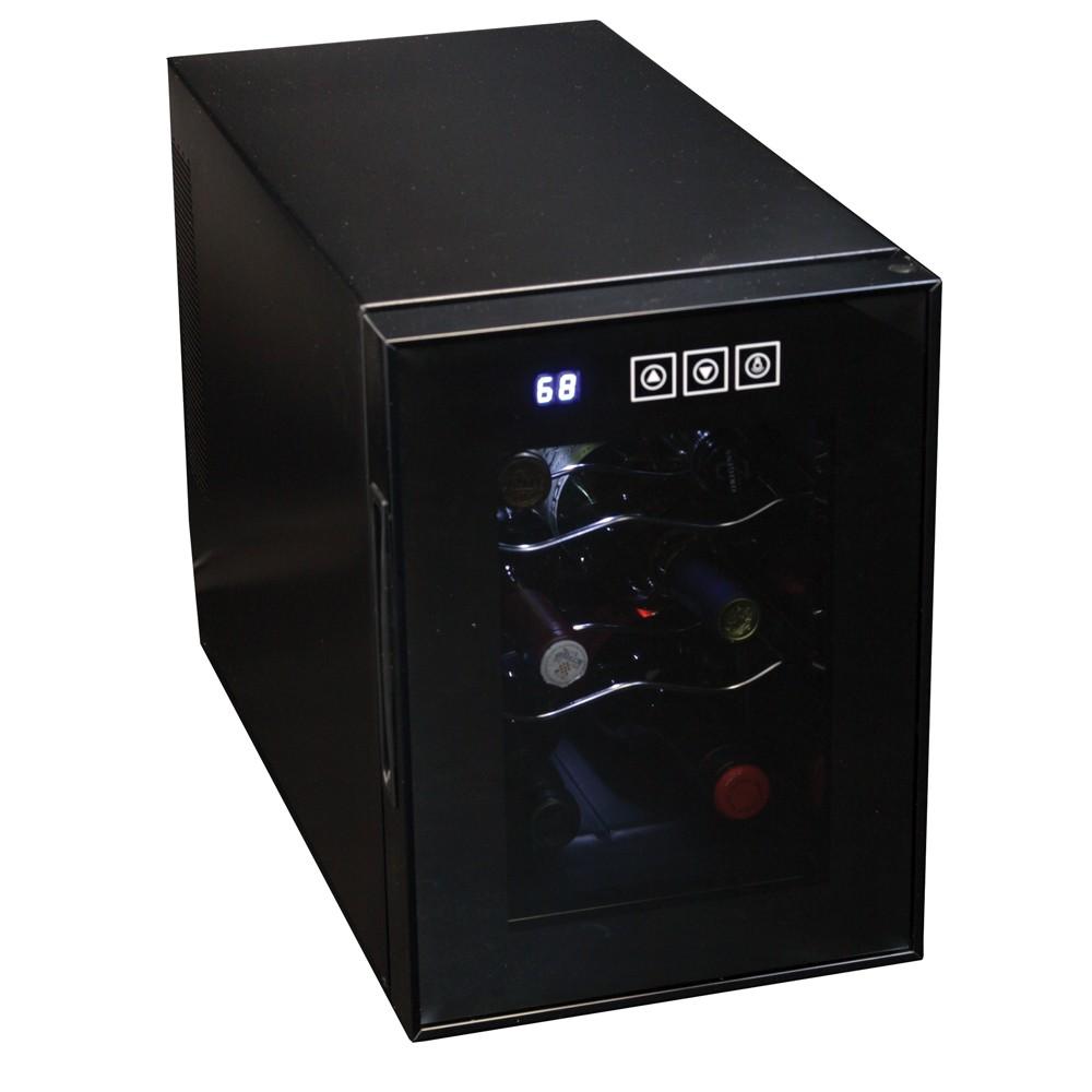 Koolatron 6 Bottle Mirrored Glass Door Wine Cooler, Black 53040924