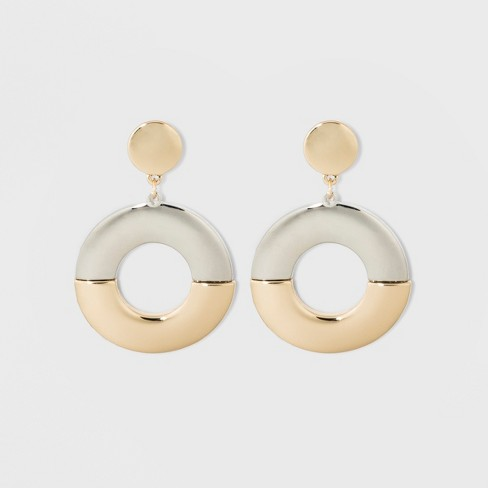SUGARFIX by BaubleBar Bold Mixed Metal Hoop Earrings - Gold - image 1 of 3