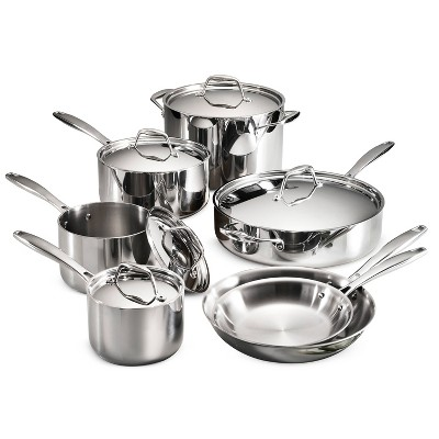 Tramontina Gourmet Tri-Ply Clad Induction-Ready Stainless Steel 12 pc Cookware Set