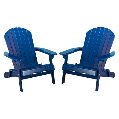 Hanlee Set of 2 Folding Wood Adirondack Chair - Navy Blue - Christopher Knight Home