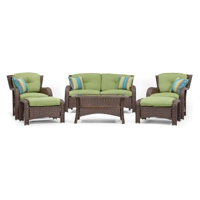 Beau La Z Boy Outdoor Sawyer 6pc Wicker Outdoor Seating Set With Sunbrella  Spectrum Cilantro Cushion