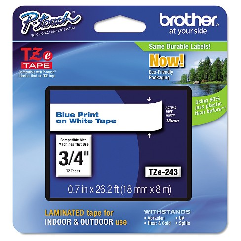 Brother P-Touch TZe Standard Adhesive Laminated Labeling Tape - Blue/White - image 1 of 1