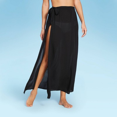 Women's Side-Tie Cover Up Maxi Skirt - Shade & Shore™ Black