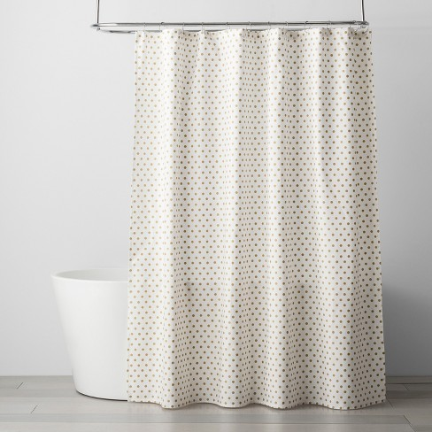 Polka Dots Shower Curtain Gold
