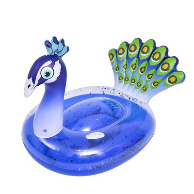 """Pool Central 57"""" Inflatable Purple and Green Peacock Swimming Pool Float"""