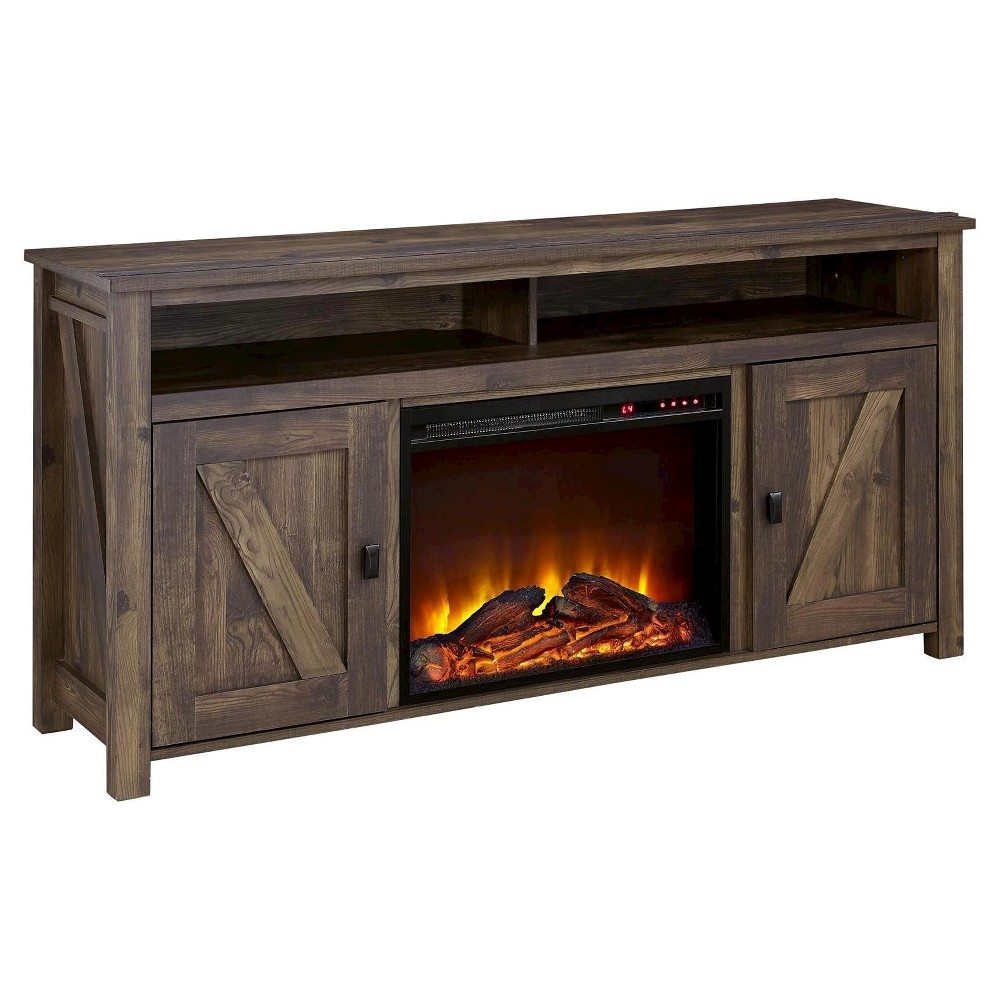 Brookside Electric Fireplace TV Console for TVs up to 60 - Dark Rustic Pine - Altra