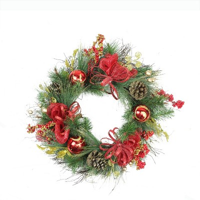 """Northlight 26"""" Unlit Red Ornament and Berry Gold Glittered Artificial Christmas Wreath"""