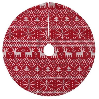 18'' Mini Fair Isle Christmas Tree Skirt Red/White - Wondershop™