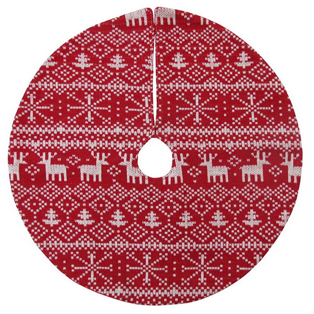 18 Mini Fair Isle Christmas Tree Skirt Red/White - Wondershop
