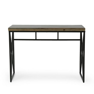 Screven Modern Industrial Handcrafted Mango Wood Desk Honey Brown/Black - Christopher Knight Home