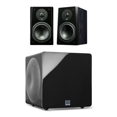 SVS Prime Bookshelf 2.1 Speaker Package with 3000 Micro Subwoofer (Premium Black Ash/Piano Black)