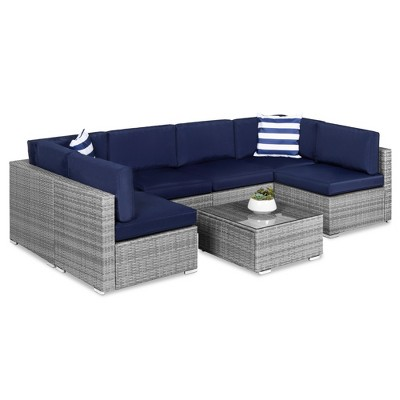 Best Choice Products 7-Piece Modular Outdoor Conversational Furniture Set, Wicker Sectional Sofas w/ Cover