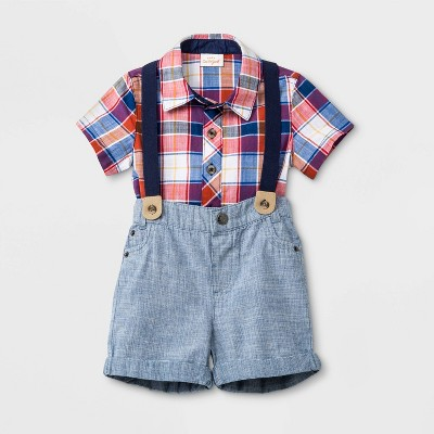 Baby Boys' Woven Suspender Set - Cat & Jack™ Red Newborn
