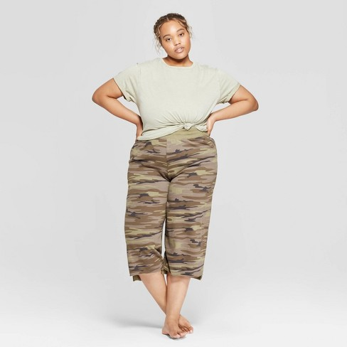 5883b77ecf2 Women s Plus Size Short Sleeve Cropped Lounge T-Shirt - Colsie™ Green