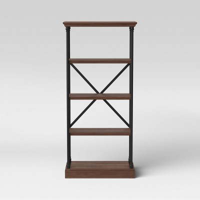Conway 4 Shelf Wood Bookcase with Cast Iron Frame Dark Brown - Threshold™