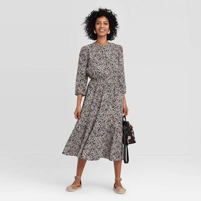Women's Printed Long Sleeve Crewneck Tiered Midi Dress - A New Day™