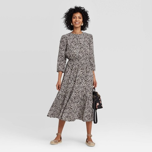 Women's Printed Long Sleeve Crewneck Tiered Midi Dress - A New Day™ - image 1 of 3