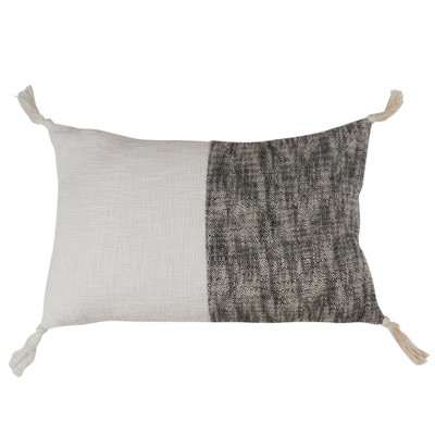 Two Toned Tasseled Oversize Lumbar Throw Pillow Black - Saro Lifestyle