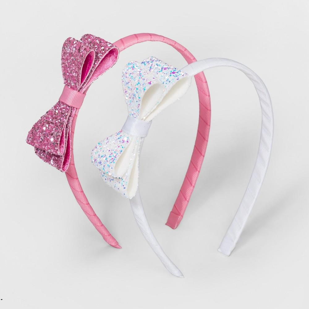 Girls' 2pk Glitter Bow Headbands - Cat & Jack, Multi-Colored