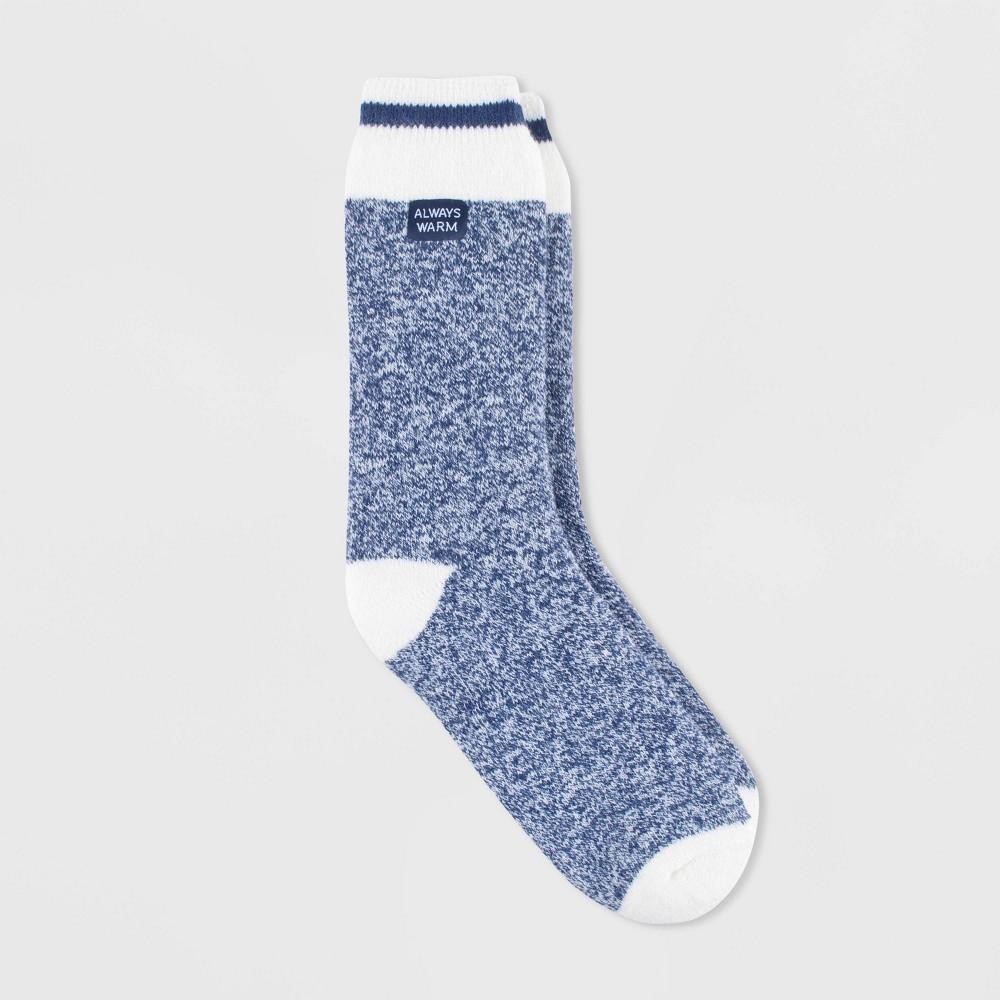 Image of Always Warm by Heat Holders Women's Warmer Block Twist Crew Socks - Soft Navy 5-9, Size: Small, Blue