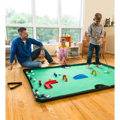 HearthSong - Golf Pool Indoor Family Game Special, Includes Two Golf Clubs, 16 Balls, Green Mat, Rails, and Wooden Arches
