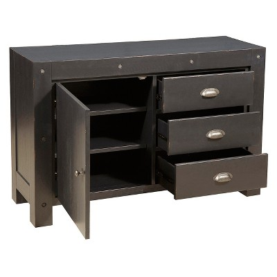 Industrial Style Three Drawer Accent Storage Chest In Distressed Black    Black   Pulaski : Target