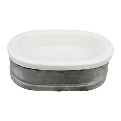 Metal & Stoneware Soap Dish - 3R Studios