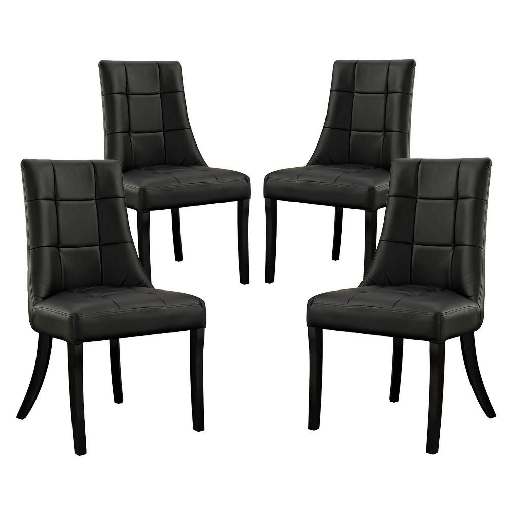 Noblesse Vinyl Dining Chair Set of 4 Black - Modway