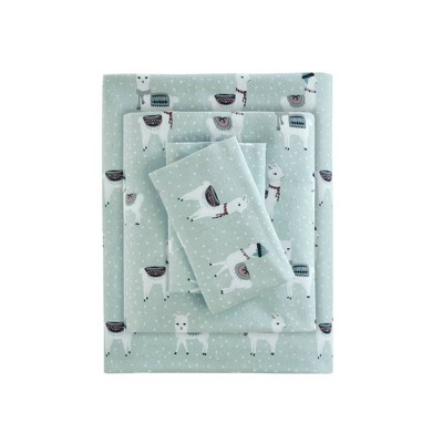 King Printed Cotton Flannel Sheet SetSeafoam Llama