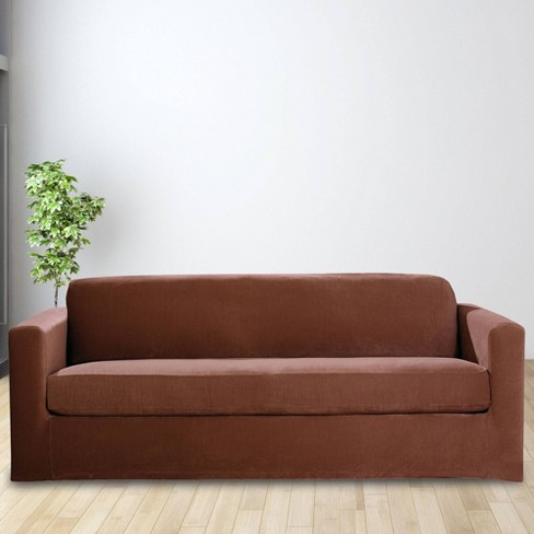 2pc Stretch Rib Sofa Slipcover Oar Brown - Sure Fit - image 1 of 2