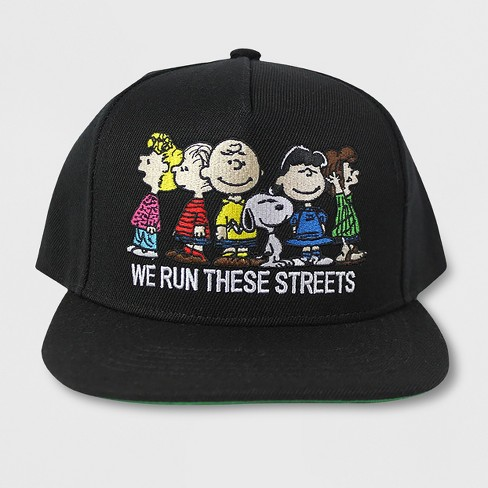 1725a77876e Men s Peanuts We Run This Town Flat Brim Baseball Hat - Black One ...