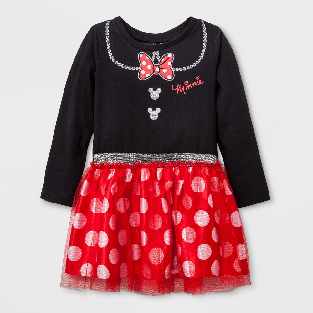 Toddler Girls' Disney Mickey Mouse & Friends Minnie Mouse Long Sleeve Tutu Dress - Black 4T