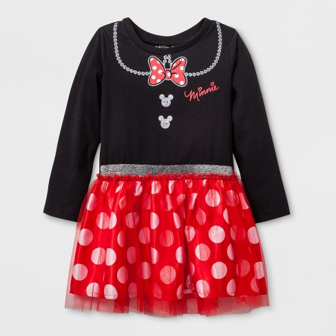 30d22bdf5 Toddler Girls' Disney Mickey Mouse & Friends Minnie Mouse Long Sleeve Tutu  Dress - Black
