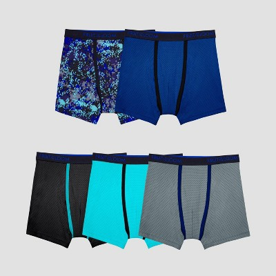 Fruit of the Loom Boys' 5pk Printed Breathable Micro Mesh Boxer Briefs