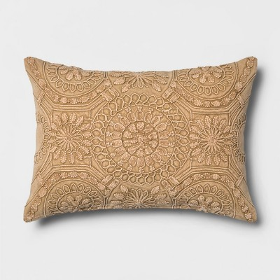 Washed Medallion Lumbar Throw Pillow Gold - Threshold™