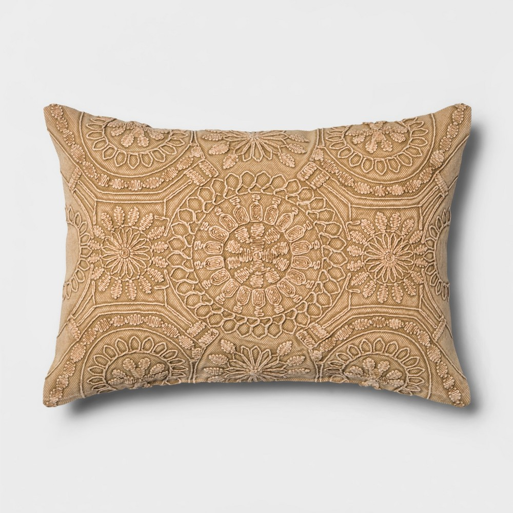 Washed Medallion Lumbar Throw Pillow Gold - Threshold