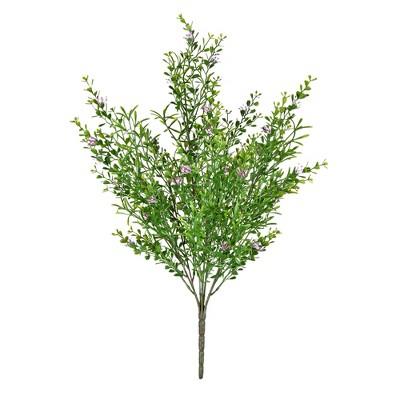 "Vickerman 22"" Artificial UV Coated Bush with Mini Purple Flowers and Boxwood Greenery."