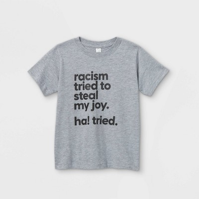 Mess In A Bottle x Target Black History Month Toddler 'Racism Tried To Steal My Joy Ha! Tried' Short Sleeve Graphic T-Shirt - Heather Gray