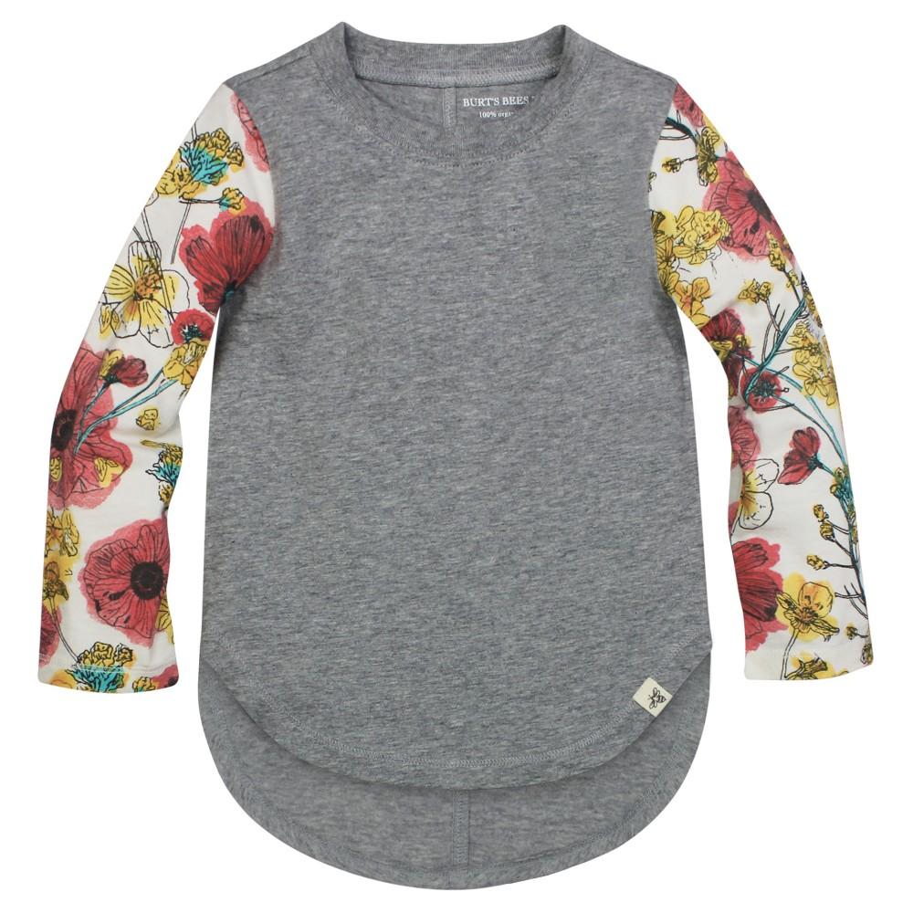 Burt's Bees Baby Toddler Girls' Floral Sleeve T-Shirt 6X - Heather Gray