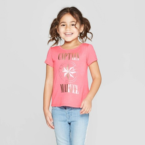 Toddler Girls' Captain Marvel Short Sleeve T-Shirt - Pink - image 1 of 3