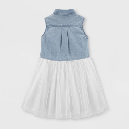 25f7be51bd7 OshKosh B gosh Toddler Girls  Tank Top Denim to Tulle Dress -Blue Cream