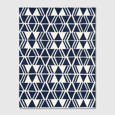 9'x12' Microplush Geo Knitted Area Rug Navy - Project 62™